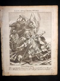 Butley 1762 Antique Religious Print. Saul falling on his own Sword